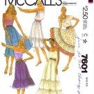 1980's McCall's 7601 Sewing Pattern Misses Boho Ruffle Skirts Size 10 - 12 - Waist 25 - 26 1/2