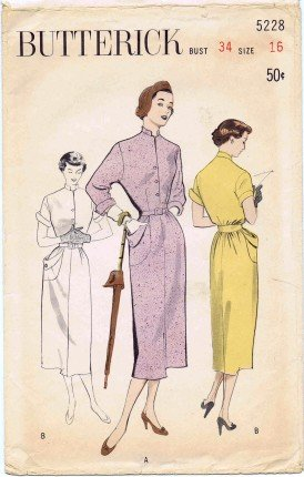 Vintage 1950's Butterick 5228 Sewing Pattern Tailored Shirtwaister Bloused Back Dress Size 16