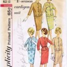 Vintage 1960's Simplicity 4554 Sewing Pattern Misses Cardigan Jacket Skirt Suit Size 12 - Bust 32