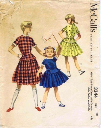 Vintage 1950's McCall's 3344 Sewing Pattern Girls Dress Detachable Collar & Cuffs Size 12