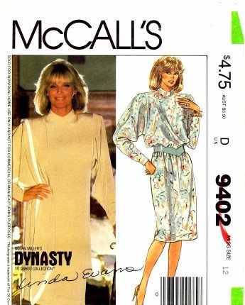 McCall's 9402 Vintage Sewing Pattern Dynasty Linda Evans Dress Tunic Skirt Shawl Size 12 Bust 34