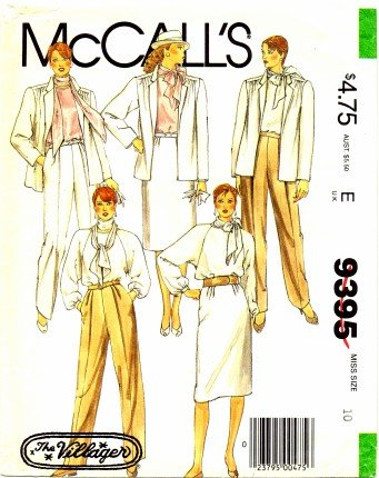 McCall's 9395 Sewing Pattern Misses Jacket Blouse Scarf Skirt Pants Size 10 - Bust 32 1/2