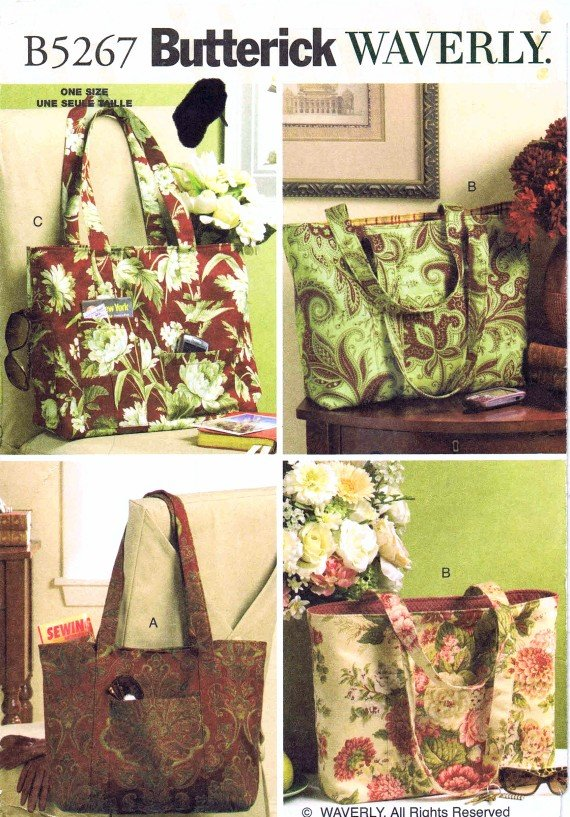 Butterick 5267 Sewing Pattern Waverly Totes Bags Purses