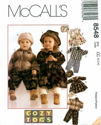 McCall's 8548 Sewing Pattern Toddlers Jacket Dress Pants Cap Hat Size 2 - 3 - 4