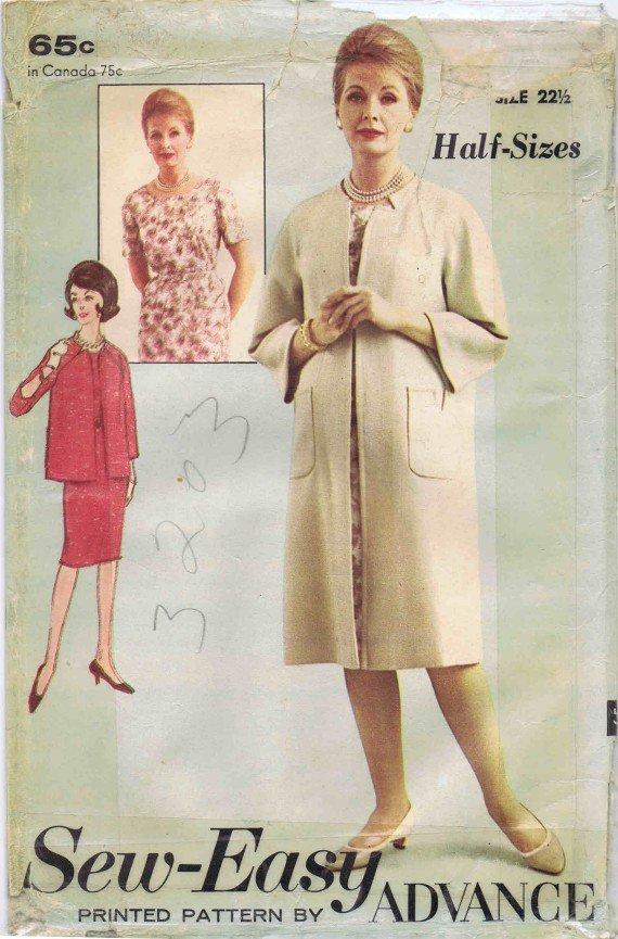 Advance 3203 Vintage Sewing Pattern Womens Dress & Coat Half Size 22 1/2 Bust 43