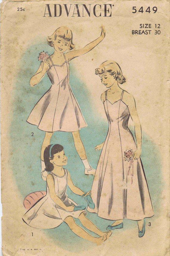 Advance 5449 Vintage Sewing Pattern Girls Slip Size 12 Breast 30