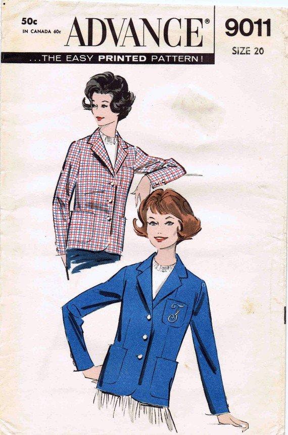 Advance 9011 Vintage Sewing Pattern Womens Jacket Full Figure Size 20 Bust 40