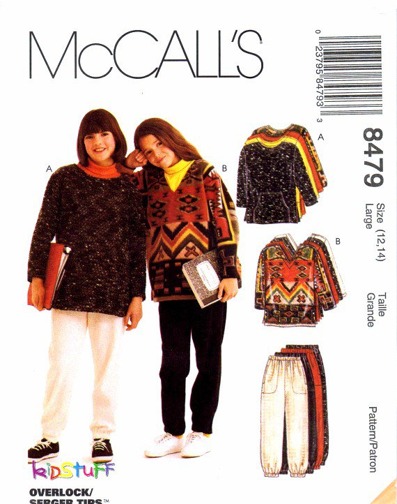 McCall's 8479 Sewing Pattern Girls Tops Pants Shirt Size 12 - 14