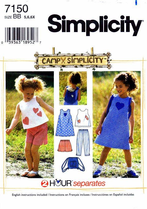 Simplicity 7150 Sewing Pattern Girls Dress Top Capri Pants Shorts Bag Size 5 - 6 - 6X