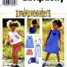 Simplicity 7150 Sewing Pattern Girls Dress Top Capri Pants Shorts Bag Size 5 - 6 - 6X