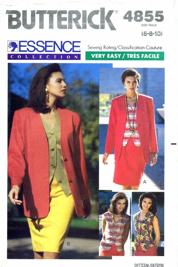 1990's Butterick 4855 Sewing Pattern Womens Jacket Top Skirt Suit Size 6 - 8 - 10
