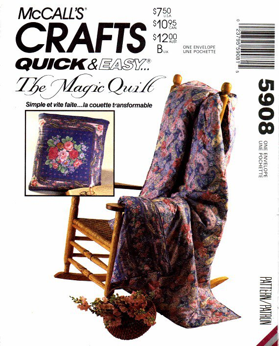 1990s McCall's 5908 Magic Quilt Bag Pillow Crafts Sewing Pattern