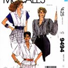 1980s McCall's 9494 Mariette Hartley Womens Blouse Vintage Sewing Pattern Size 10