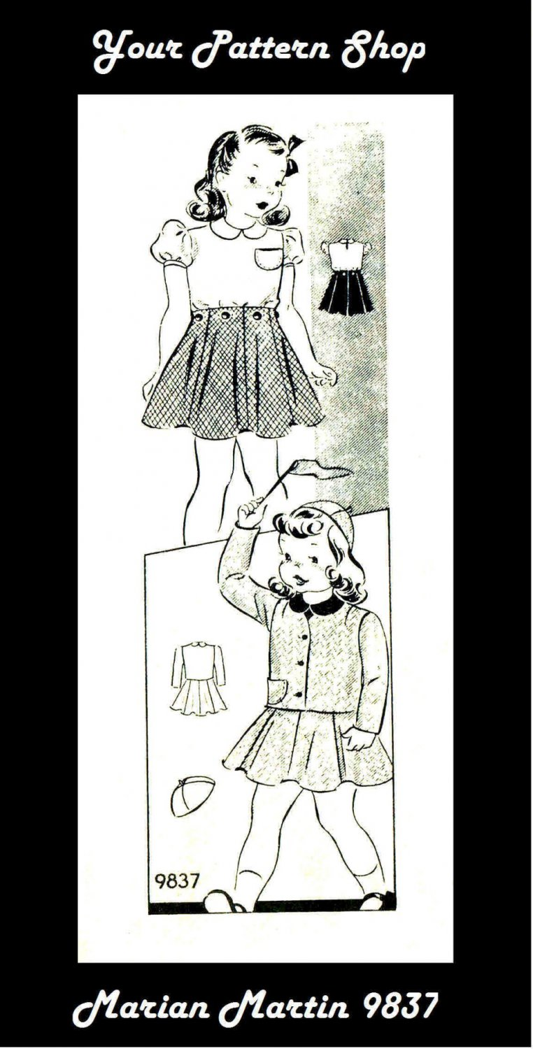 1940s Marian Martin 9837 Girls Blouse Skirt Jacket Cap Vintage Sewing Pattern Size 6