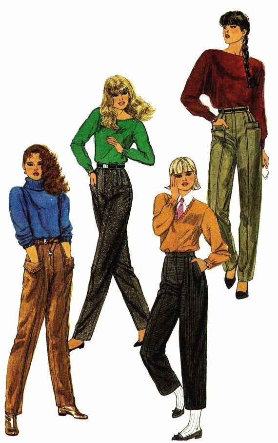 1980s Simplicity 6544 Misses Tapered Pants Vintage Sewing Pattern Size 12