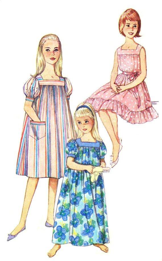 1960s Simplicity 3938 Girls Muu Muu Nightgown Vintage Sewing Pattern Size 10 Breast 28