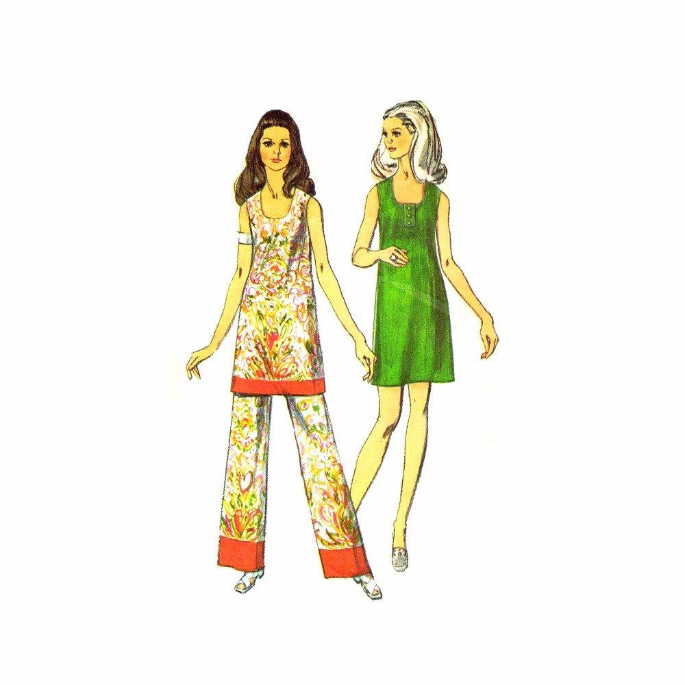1970s Simplicity 8730 Misses Mini Dress Pants Vintage Sewing Pattern Size 10 Bust 32 1/2