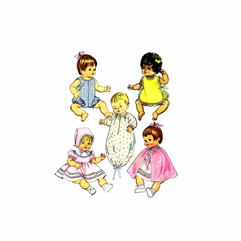 1970s Simplicity 5275 Ginny Baby Powder Puff Baby Tender Love Clothes Vintage Sewing Pattern