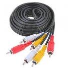 10ft Triple 3 Male RCA Composite Audio Video DVD TV Cable Cord Black