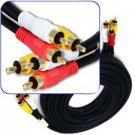 12 Foot Composite Cable (Yellow)Video & (White, Red) Stereo Audio RCA Connectors RG59/U Cord