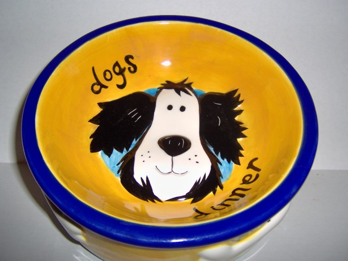 Dogs Dinner Hand Painted Food Bowl FREE S&H!!!
