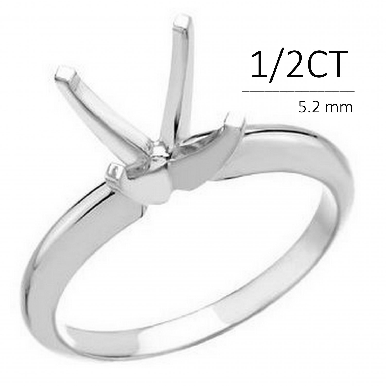 14k 0.50 Ct Solitaire Engagement Ring Mounting 4 Prong
