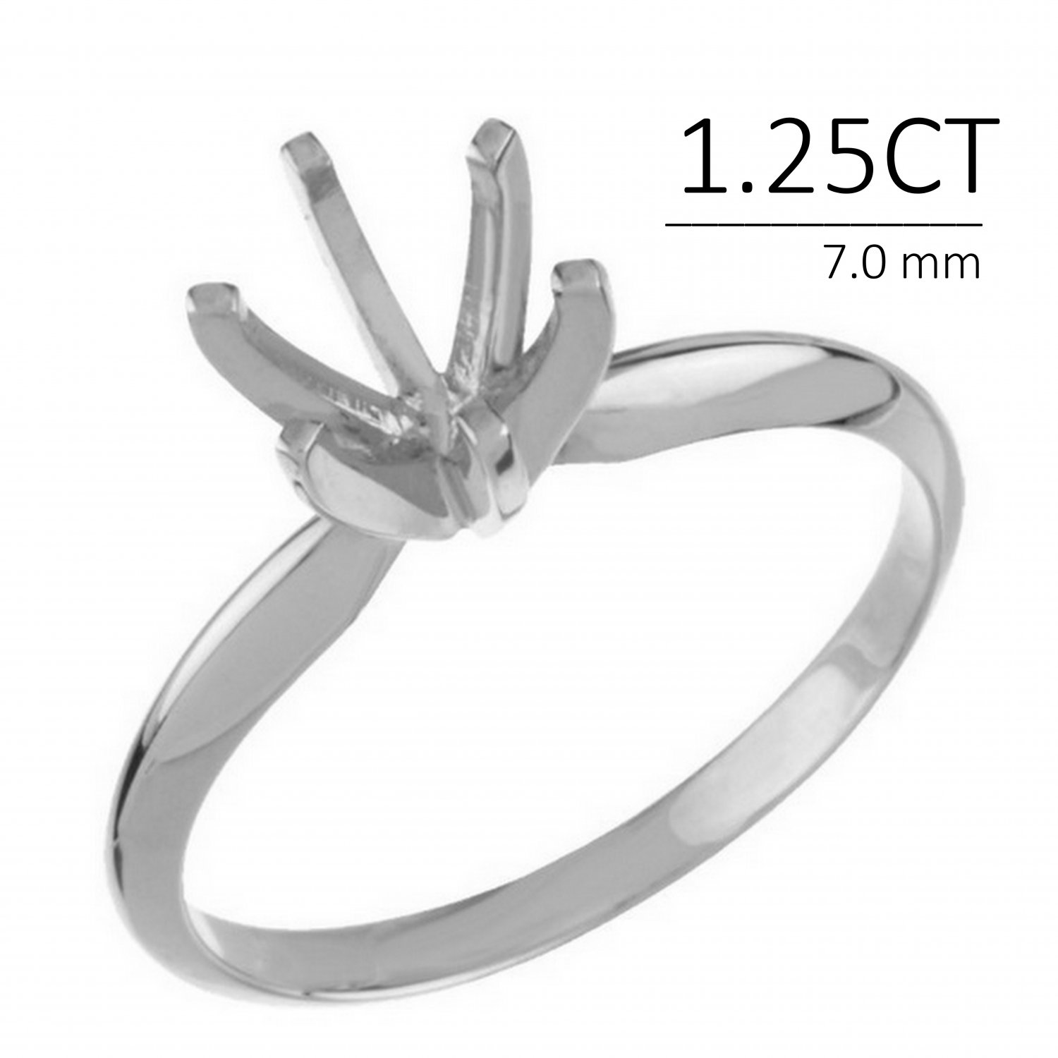 Round Solitaire Ring Mounting-14k-1.25 Ct