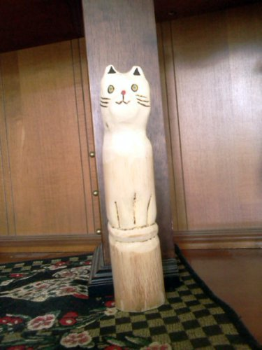 The sitting wood cat