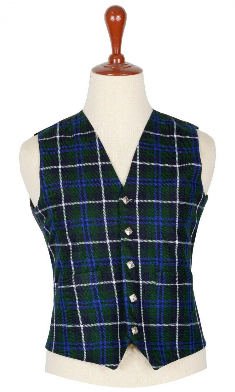 Blue Douglas Tartan-Men's Traditional Style 5 Button Scottish Plaid Vest