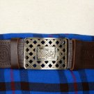 Trinity Knot Embossed Brown Leather-Traditional Scottish KILT BELT With BUCKLE