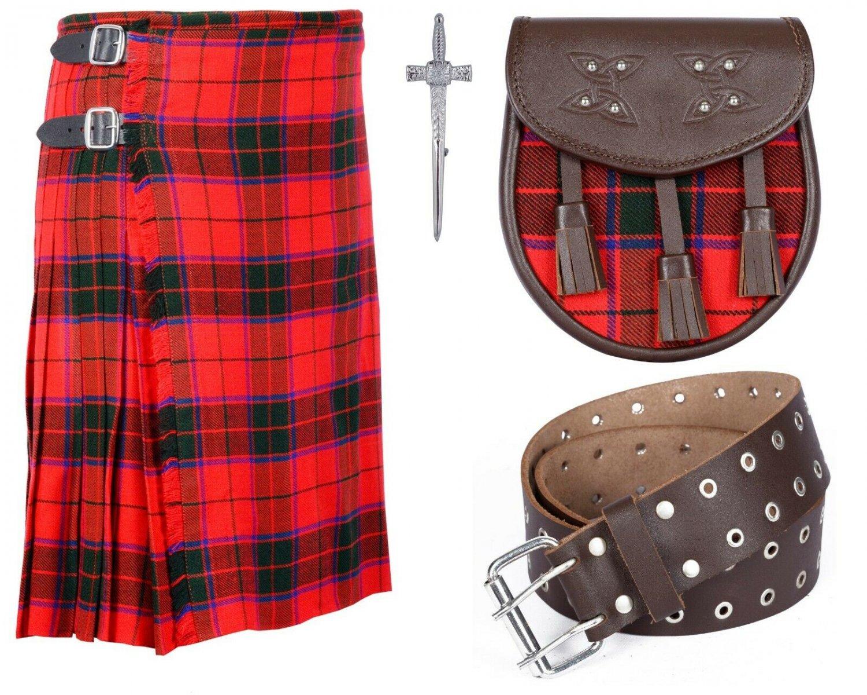 8 Yard Traditional Scottish Rose Tartan Kilt with Leather Belt and Sporran