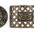 New Men's Antique Brass Celtic Jewelry KILT PIN-BELT BUCKLE-Flyplaid BROOCH