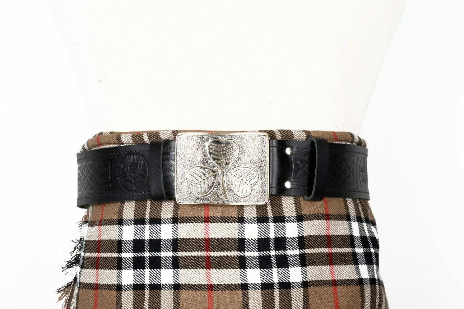 Thistle Embossed Black Leather-Traditional Scottish KILT BELT With BUCKLE