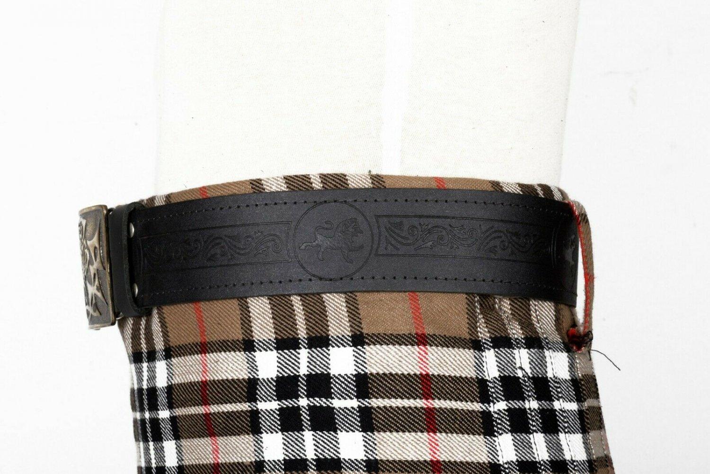 Scottish Lion Embossed Black Leather-Traditional Scottish KILT BELT With BUCKLE