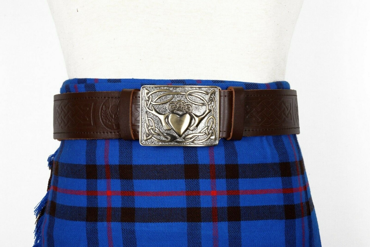 Thistle Embossed Brown Leather-Traditional Scottish KILT BELT With BUCKLE