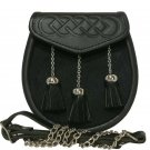 Semi Dress Black Leather Sporran with Embossed Flap and 3 Straight Tassels