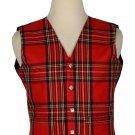 Men's Traditional Style 5 Button Scottish Plaid Vest - Royal Stewart Tartan