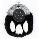 Hand Crafted Full Dress Black Rabbit Fur Sporran with White Rabbit Fur Tassels