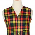 36 Size Men's Traditional Style 5 Button Scottish Plaid Vest - Buchnan Tartan