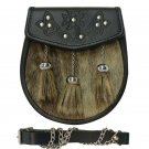 Semi Dress Seal Fur Leather Sporran with Embossed Flap and 3 Straight Tassels