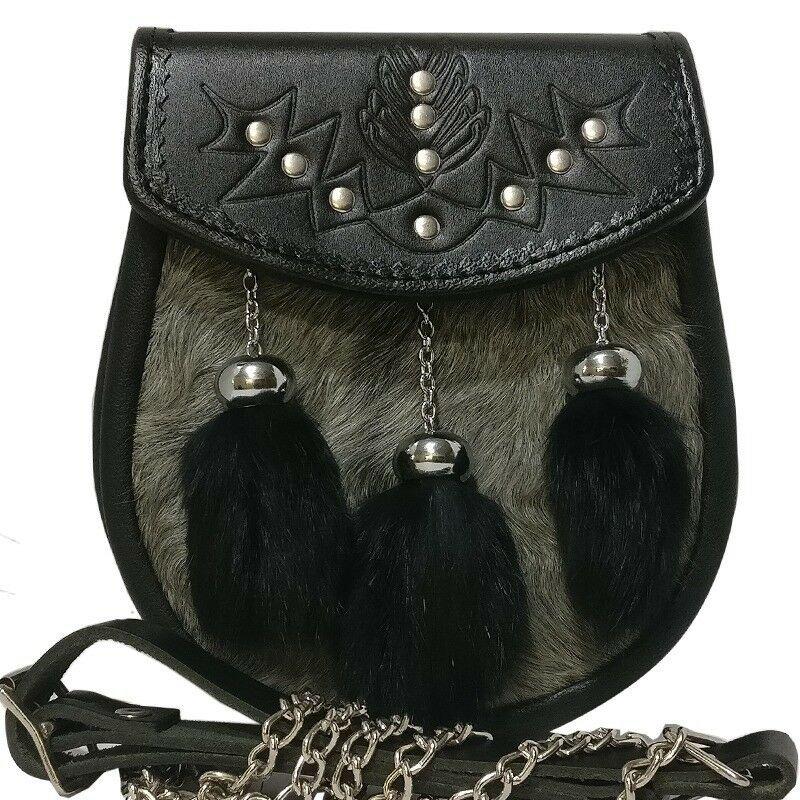 New Hand Crafted Grey Goat Fur Semi Dress Sporran with 3 Black Rabbit Fur Tassels