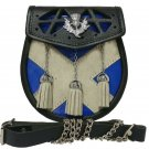 SCOTTISH Saltire Flag Themed Leather SPORRAN Kilt Bag with Free Chain and Belt