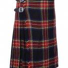 34 Inches Waist Size Traditional 8 Yard Handmade Scottish Kilt For Men - Black Stewart Tartan