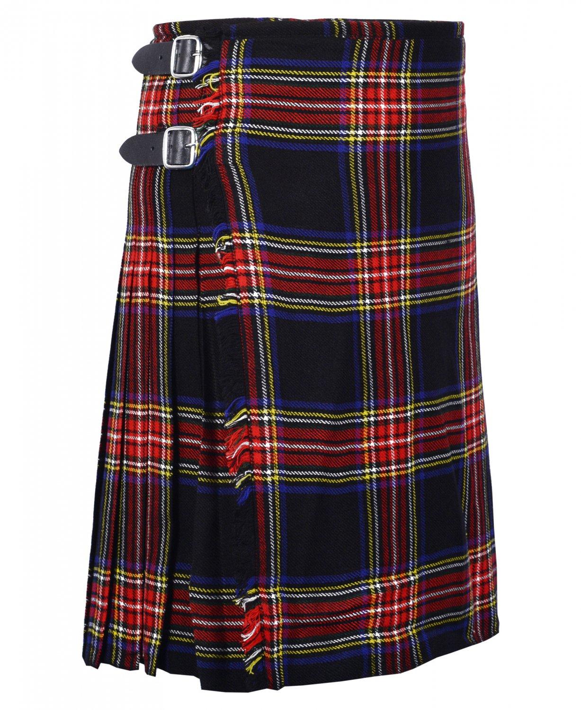 38 Inches Waist Size Traditional 8 Yard Handmade Scottish Kilt For Men - Black Stewart Tartan