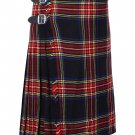 38 Inches Waist Size Traditional 8 Yard Handmade Scottish Kilt For Men - Black Stewart Tartan