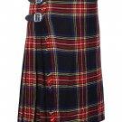 44 Inches Waist Size Traditional 8 Yard Handmade Scottish Kilt For Men - Black Stewart Tartan