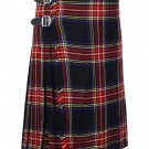 50 Inches Waist Size Traditional 8 Yard Handmade Scottish Kilt For Men - Black Stewart Tartan