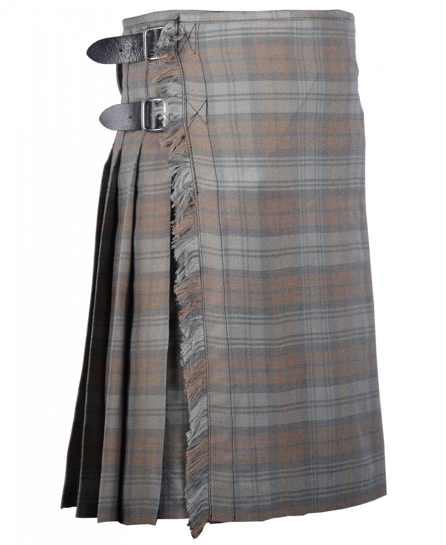 64 Inches Waist Size Traditional 8 Yard Handmade Scottish Kilt For Men-Black Watch Weathered Tartan
