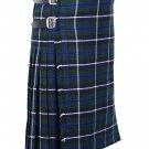 52 Inches Waist Size Traditional 8 Yard Handmade Scottish Kilt For Men - Blue Douglas Tartan