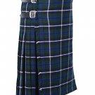 64 Inches Waist Size Traditional 8 Yard Handmade Scottish Kilt For Men - Blue Douglas Tartan